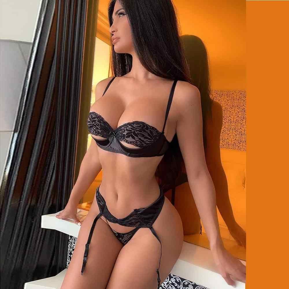 3pcs סט נשים שקוף חזיית סט + בירית שחור סקסי הלבשה תחתונה תחרה Lenceria בתוספת גודל תחתונים