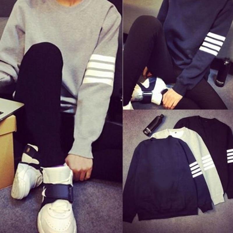 New Fashion Autumn Winter Men Women Sweatshirt Striped Long Sleeve Hoodie O Neck Tops Casual Pullover SCI88