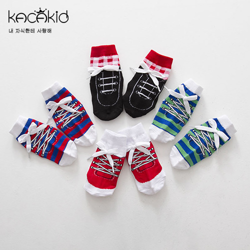 Spring And Autumn New Style Men And Women Baby Handsome Lace-up Shoe Modeling Short Socks Cotton Socks Cute Gentleman Socks