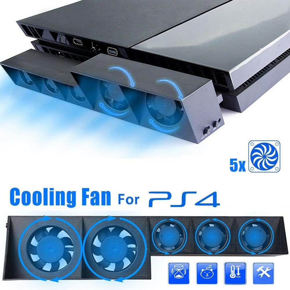 PS4 Cooling Fan  TP4-005 Smart Turbo Intelligent Temperature Control 5 Fans PS4 Host USB Cooling Cooler