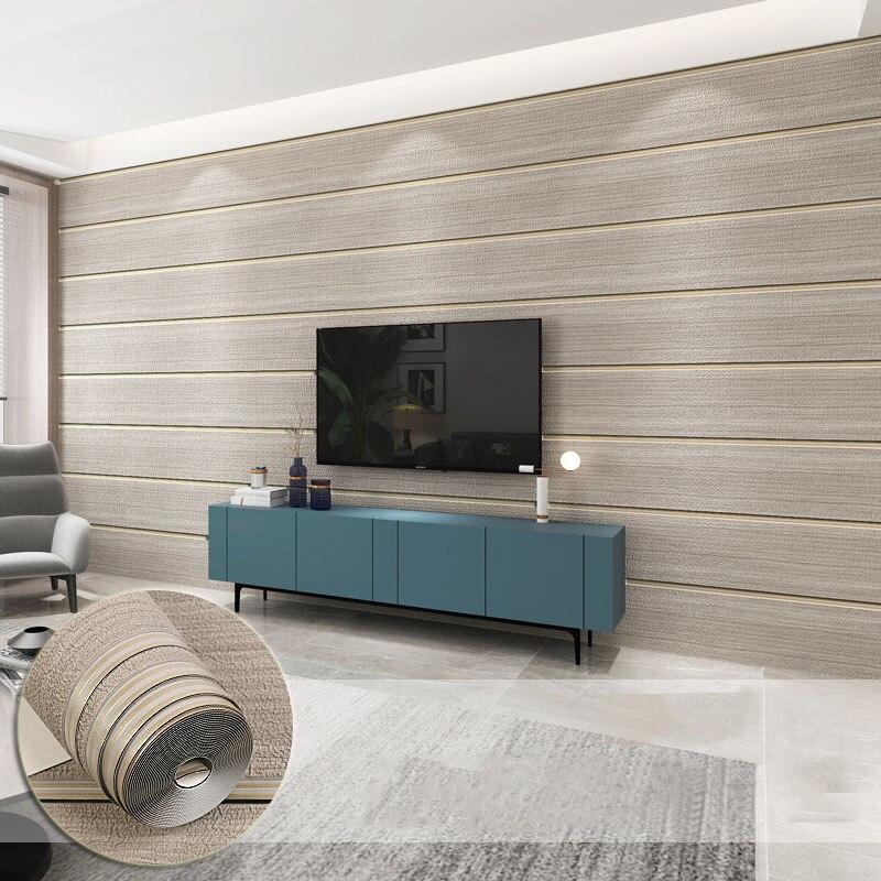3D papier peint moderne rayure en bois conseil Texture papier peint rouleau salon TV canapé chambre décor à la maison Non-tissé flocage Tapety