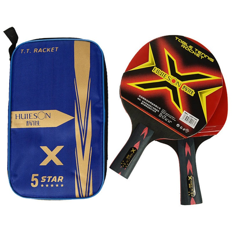 5 Stars Ping-pong Racket Pimples-in Rubber 5 Baseboard Layers Wooden SportsProfessional Training Accessories 2pcs/set