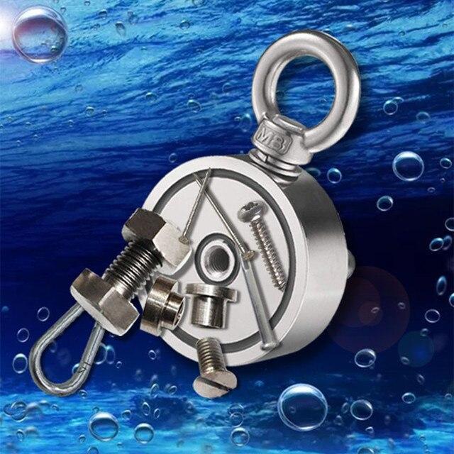 مغناطيس نيوديميوم ضعف الجانب قوية إنقاذ الصيد المغناطيس 150KGx2 الوجه البحث حامل المغناطيس المغناطيسي حامل الكأس الصلب