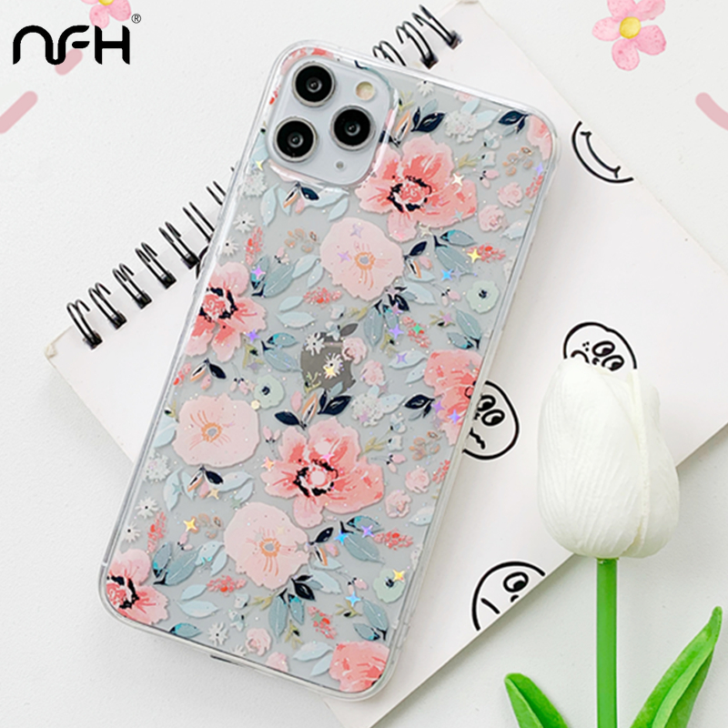 Luxury Dry Flower Glitter Silicone Case For iPhone XR XS Max 11 Pro Max SE2 Bling Star Transparent Cover On iPhon 6 6S 7 8 Plus