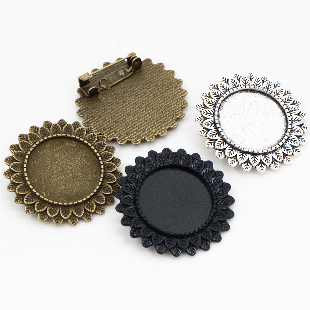 2pcs 20mm Inner Size Antique Bronze And Antique Silver Plated And Black Colors Brooch Pin Classic Style Cabochon Base Setting
