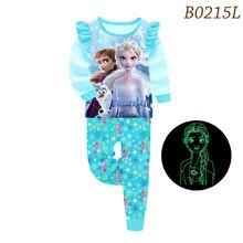 Brilho no escuro elsa anna pijamas dos desenhos animados meninas pijamas congelados crianças por atacado conjunto de roupas pijamas pijamas homewear