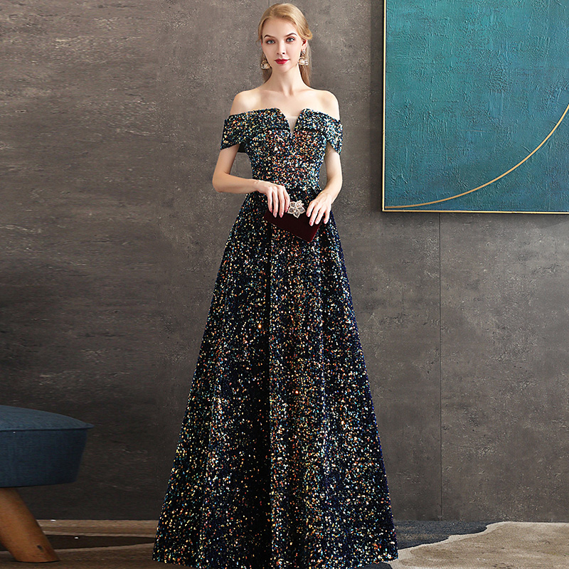 2020 New Sexy Sequins Evening Dress Long Elegant V-neck Backless Womens Formal Gown A-Line Banquet Off The Shoulder Evening Gown