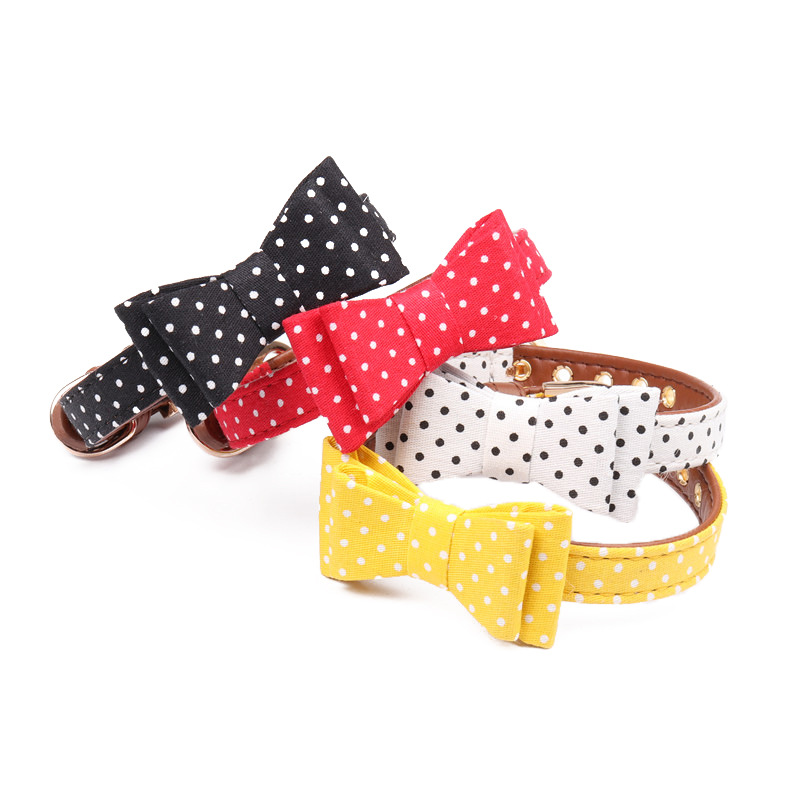 Amin Lattice Small And Medium-sized Dogs Polka Dot Bow Neck Ring Cat Neck Ring Compatible Traction