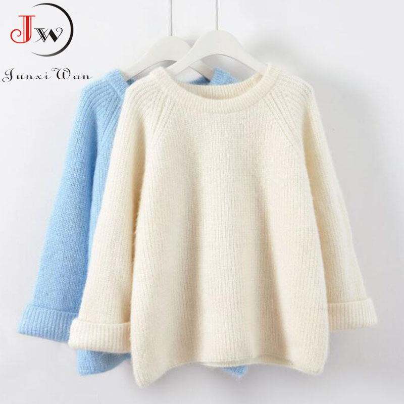 New 2019 Autumn Women Knitted Sweaters Jumpers Candy Color Sweet Chic Short Sweater Casual Solid Pull Femme Roupas Femininas