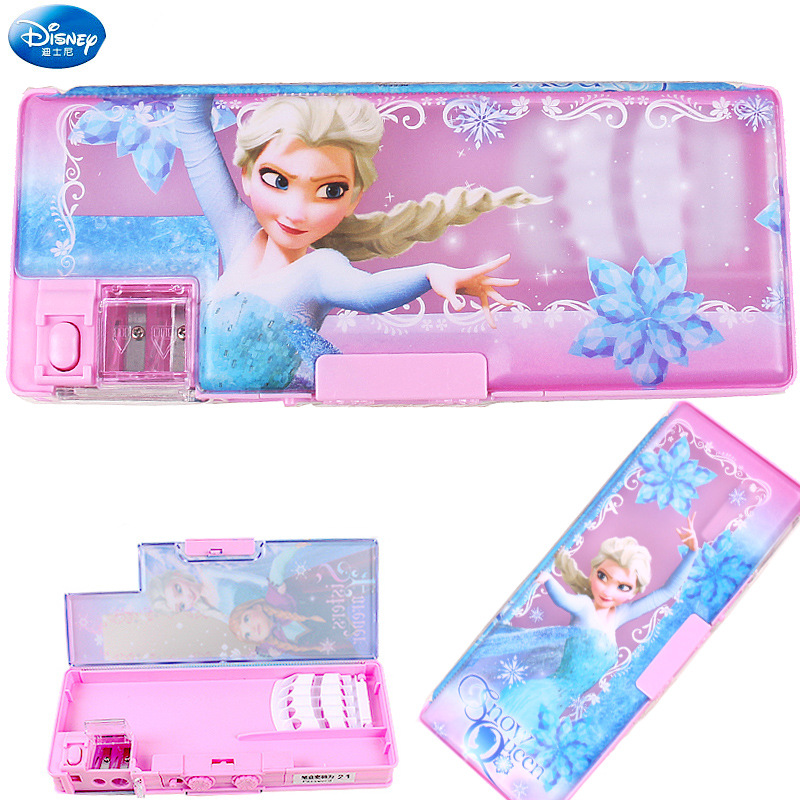 Frozen Multi-function Pen Box Disney Long Hair Princess Pencil Case Stationery Girl School Supplies Child Reward