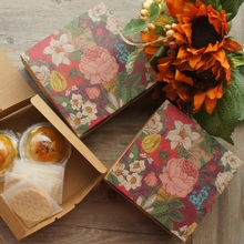 14*14*5cm 10pcs Kraft Paper Colorful Flower Design Box Candy Cookie Handmade Candle Gift Packaging Wedding Birthday Use
