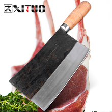 XITUO Kitchen Chef Knife Cleaver High Carbon Steel Handmade Forged Knife Chinese Sharp Chopping Cleaver Butcher Slaughter Tools