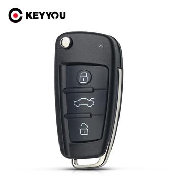 KEYYOU w celu uzyskania składana klapka obudowa pilota z kluczykiem samochodowym przypadku 3 obudowa z przyciskami dla AUDI bez grota tanie i dobre opinie key shell for AUDI key shell for AUDI A6 abs plastic in China 3 buttons
