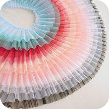 Сетчатая плиссированная кружевная лента 10 см, «сделай сам», ткань для шитья и одежды, украшение для платья для маленьких девочек, белого, чер...