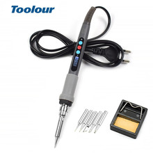 Toolour EU/US 110V/220V 60W/90W Adjusting Temperature Electric Soldering Iron  Welding Tool Set with 5 Iron Tips Soldering Stand dormancy function welding tool electric soldering iron cxg gs90d 220v 90w using 900m sting high quality replace hakko station