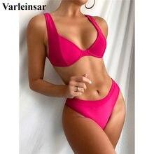 Female Swimsuit Bikini-Set Two-Pieces Swim-V2841 Sexy Underwire Women Mid-Waist-Bather