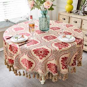 Image 5 - European style Luxury jacquard Tablecloth With Tassel for Wedding Birthday Party Round Table Cover Desk Cloth for home decor