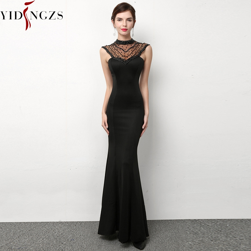 YIDINGZS Black Elegant Party Dress Backless See-through Beaded Long Evening Dress YD1445