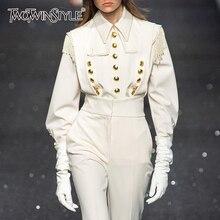 TWOTWINSTYLE, Винтажные белые лоскутные женские рубашки с заклепками, воротник с лацканами, рубашка с длинным рукавом, блузка, Женская Осенняя модная новинка
