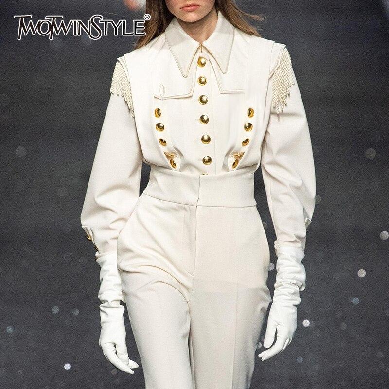 TWOTWINSTYLE Vintage White Patchwork Rivets Women's Shirts Lapel Collar Long Sleeve Shirt Blouse Female Autumn Fashion New 2020