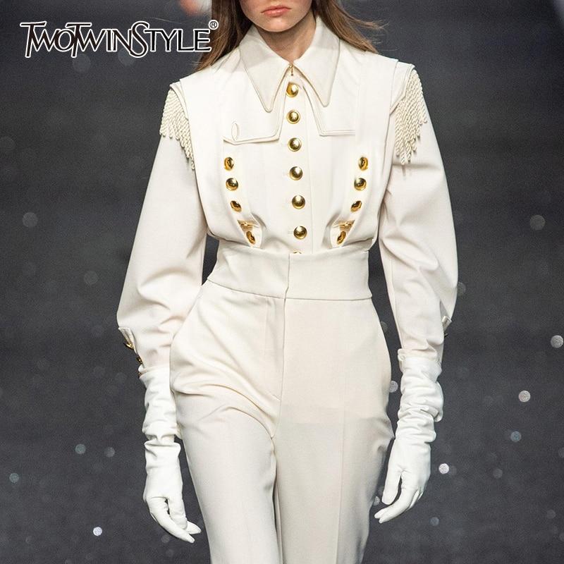 TWOTWINSTYLE Vintage White Patchwork Rivets Women's Shirts Lapel Collar Long Sleeve Shirt Blouse Female Autumn Fashion New 2019
