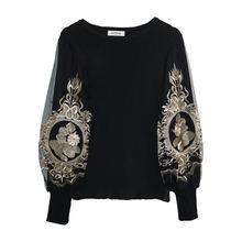 Женские черные вязаные свитера с рукавами фонариками джемпер