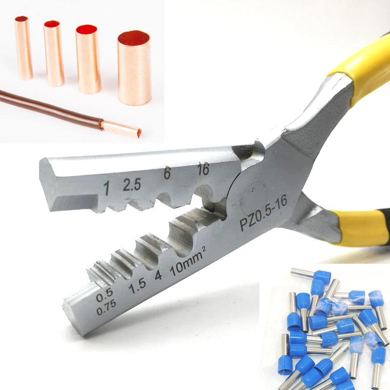 GT Copper Connecting Pipe Tube Crimping Tube Terminal Pliers 0.25-35mm Crimper Pliers Bootlace Terminal Crimping Tools