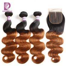 Racily Hair 1B/30 Brazilian Body Wave Bundles With Closure Remy Human Hair Bundles With Closure Brown Ombre Bundles With Closure