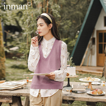 INMAN 2020 Autumn Winter New Arrival Artsy Style Simple Design All Match Female Girl Women Sweater Vest