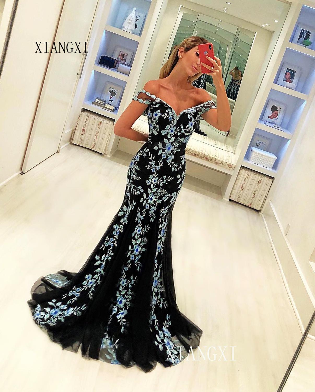 Mermaid 2020 Evening Dresses Long Off The Shoulder Lace Appliques Floor Length Evening Dress Formal Party Gowns Robe de soiree