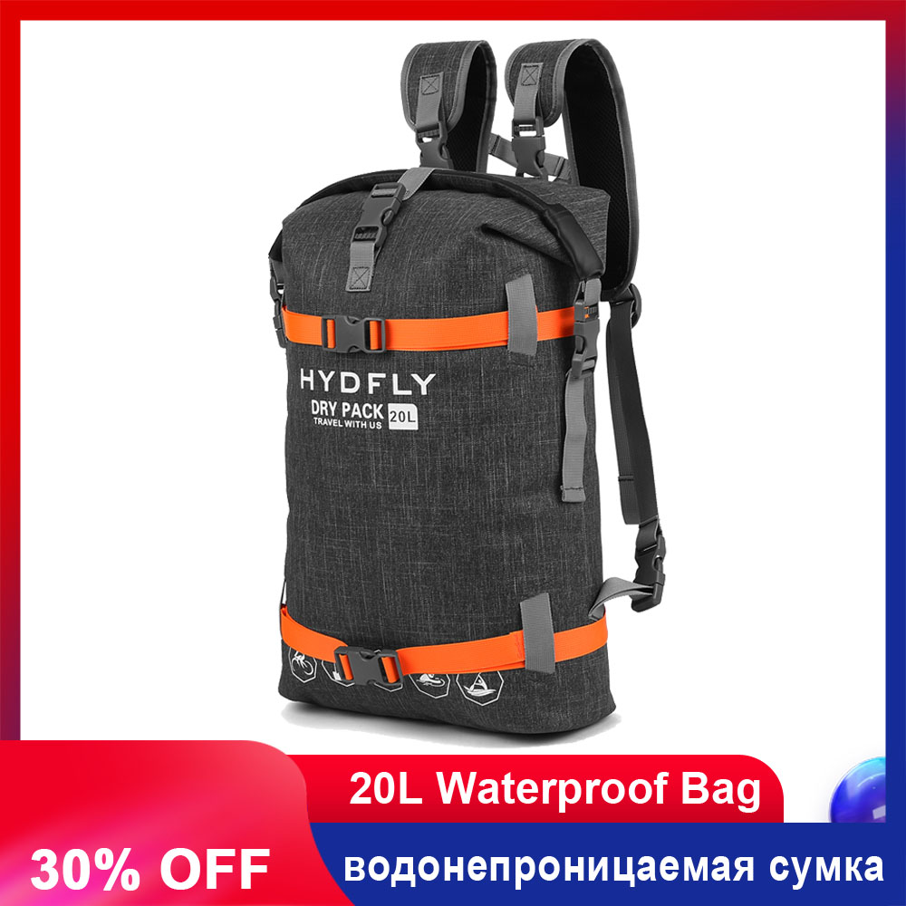 LIXADA 20L Outdoor Waterproof Backpack Trekking Dry Bag Fishing Floating Waterproof Bag Roll-top Sport Bag Drifting Swimming
