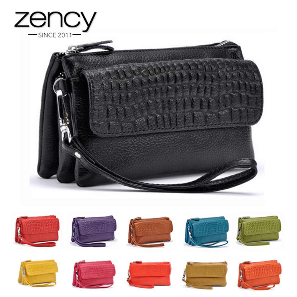 Zency 100% Genuína Mulheres De Couro Sacos de Embreagem Senhoras Carteira Padrão Prática caixa Do Telefone Móvel Saco de Titulares de Cartão de Crédito de Longo Bolsa