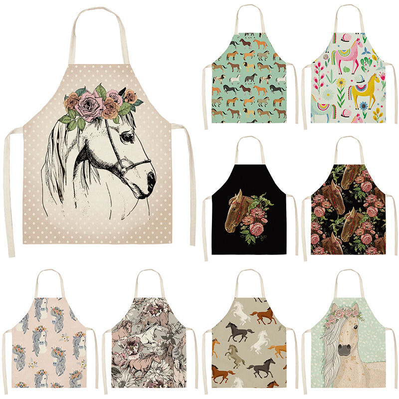 1Pcs Horse Kitchen Sleeveless Aprons For Women Cotton Linen Bibs Household Cleaning Pinafore Home Cooking Apron 53*65cm WQL0176