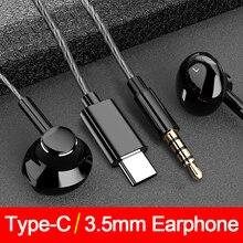 Ciężki bas typu C słuchawki dla Samsung dla Xiaomi Redmi 3.5mm Jack w ucho słuchawki douszne mikrofon regulacja głośności TypeC słuchawki