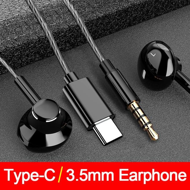 重低音タイプcサムスンxiaomi redmi 3.5 ミリメートルジャック耳耳電話ヘッドセットマイクボリューム制御typecイヤホン