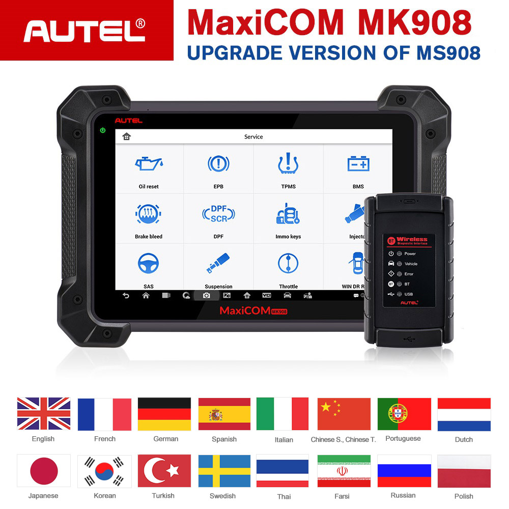 Autel MaxiCOM MK908 Auto Diagnostic Scanner Advanced Comprehensive Full System ECU Coding Tool