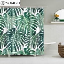 Зеленые тропические растения занавески для душа s ванная комната полиэстер водонепроницаемый занавески для душа листья печать занавески s для ванной душ