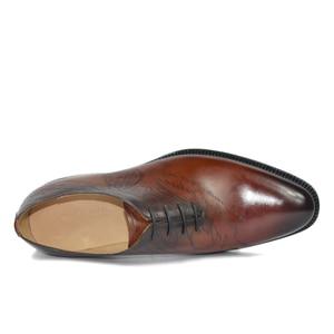 Image 2 - שמלת נעלי גברים עור אמיתי בציר רטרו Custom בלייק בעבודת יד משרד אופנה רשמי חתונה מסיבת נעלי אוקספורד
