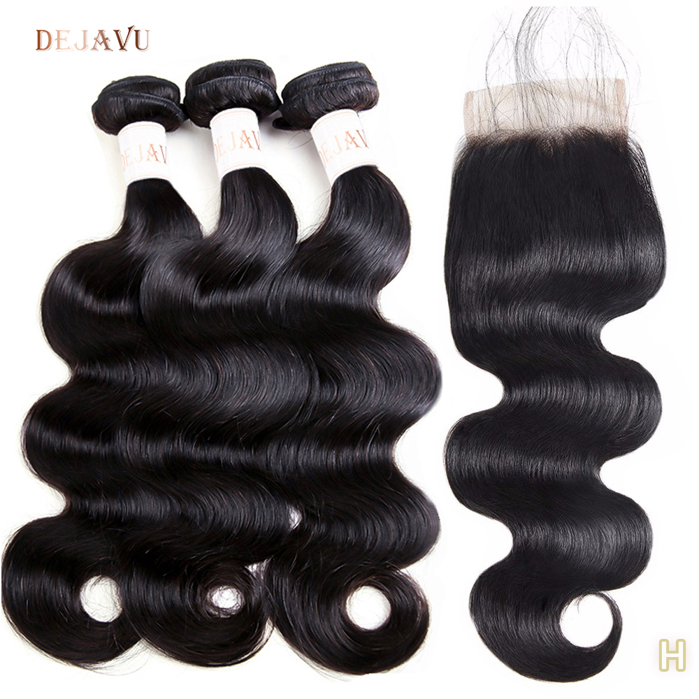 Body Wave Bundles With Closure Malaysian Hair 3 Bundles With Closure Dejavu Non-Remy 100% Human Hair Wavy Bundles With Closure