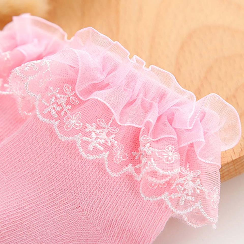 Newborn Baby Girl Solid Color Breathable Cotton Elastic Princess Lace Sock Mgic