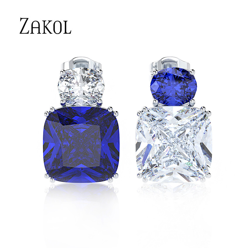 ZAKOL Trendy Crystal Bridal Earrings for Women Accessories Simple Blue White Square Cz Zirconia Stud Earrings Jewelry