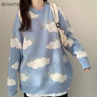 Pullover Frauen Harajuku Schöne Chic Preppy Einfache Weiche Lose Herbst Frühling Jugendliche Strickwaren Casual Mode Koreanische Mädchen Pullover
