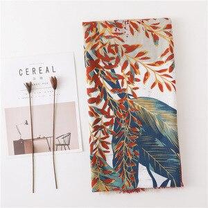 Image 2 - Borla de algodón para bufanda de verano de gran tamaño patrón de flores protector solar chal grande de seda toalla o pañuelo de playa para mujer