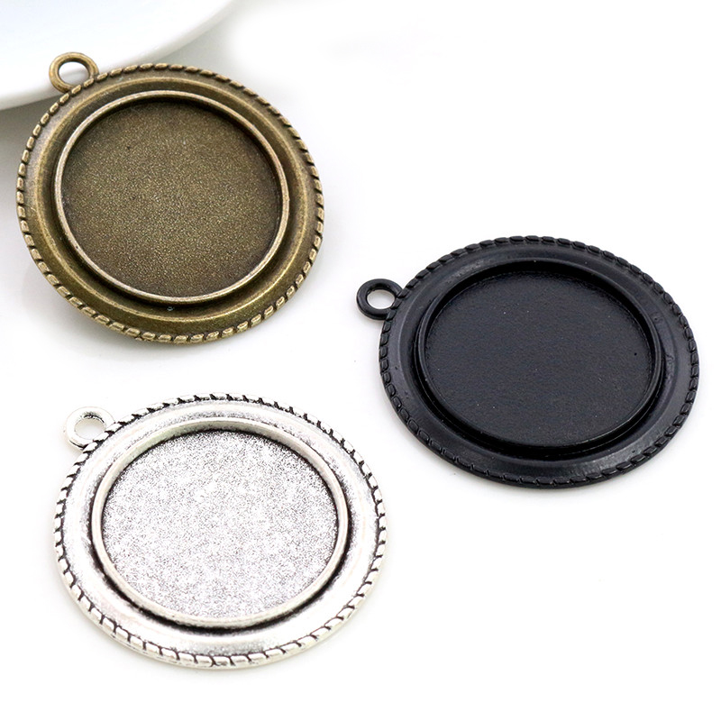 New Fashion 5pcs 25mm Inner Size Antique Silver Plated Bronze Black Vintage Style Cabochon Base Setting Charms Pendant