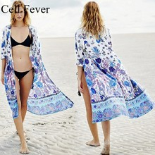 Beach Long Cardigan Cotton Printed Bikini Cover Up Tunic Swimsuit Dress Women Kaftan Robe de Plage Saida Praia Pareo