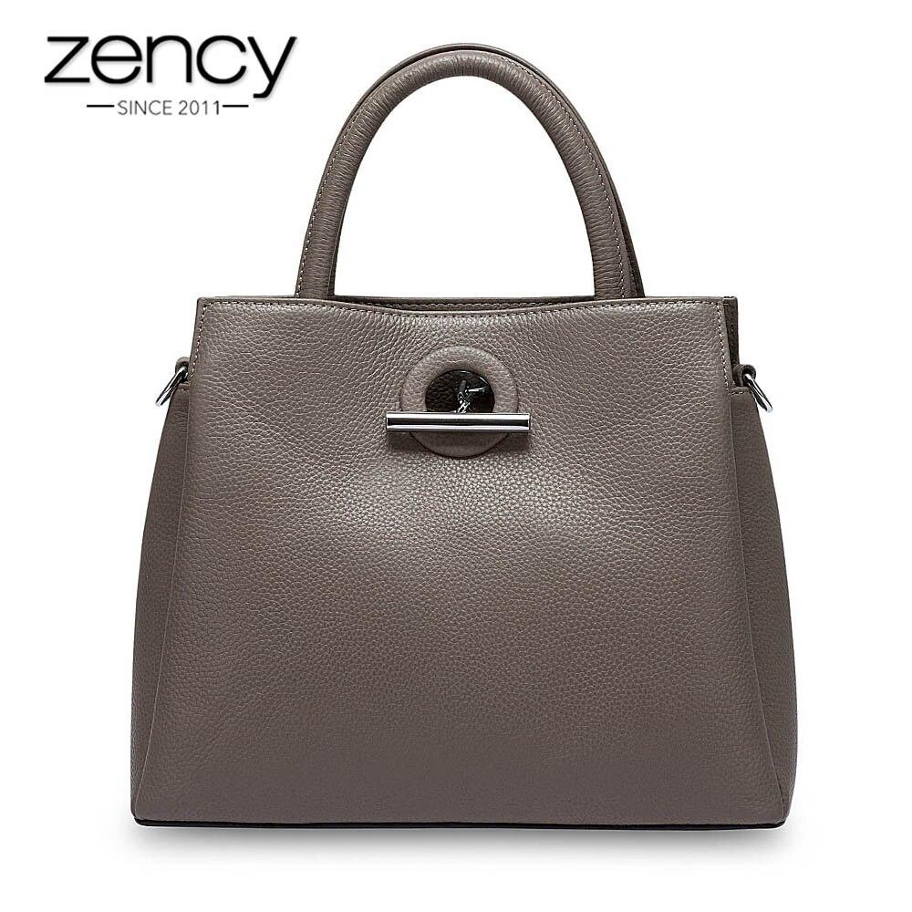 Zency moda mujer bolso de mano 100% cuero genuino Bolso Negro señora bandolera bolso de hombro de alta calidad-in Cubos from Maletas y bolsas    1