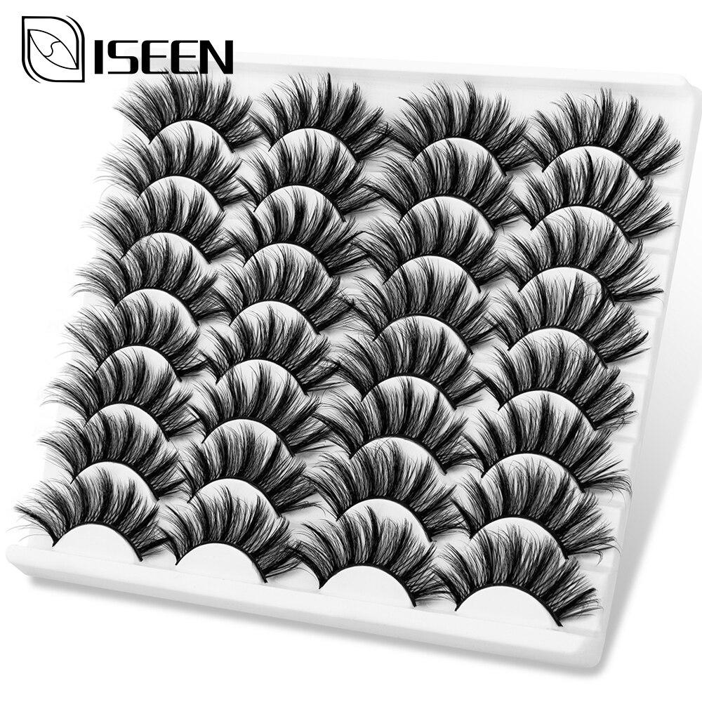 ISEEN 5/8/12/16 Pairs 3D Mink Lashes Natural False Eyelashes Fake Lashes Long Eyelash Extension Faux Mink Eyelashes For Beauty
