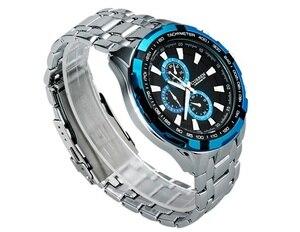 Image 4 - カレンフル鋼クォーツは、男性のビジネス石英腕時計カジュアルドロップシップブルー軍事スポーツレロジオmasculino時計男性