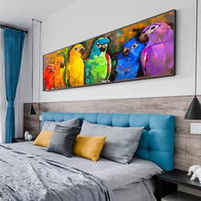 Colorful Animal Parrot Canvas Painting Art Animal Wall Art Poster Prints Modern Pictures Art For Living Room Home Decor graffiti art monkey canvas painting colorful printed poster and prints painting wall pictures for living room home decor artwork