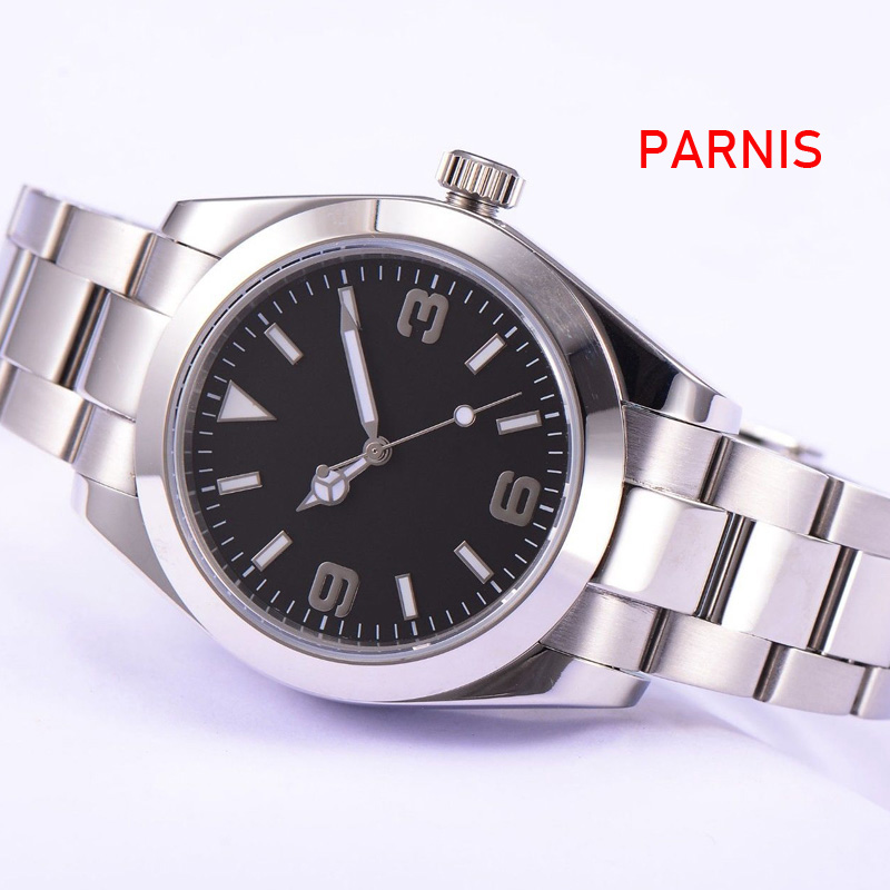 <font><b>Parnis</b></font> Sapphire Glass black Sterile Dial <font><b>40mm</b></font> Automatic Men <font><b>Watch</b></font> image